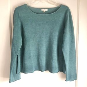 Eileen Fischer Green Crew Neck Linen Sweater